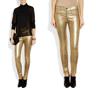J Brand 801 Coated Legging Jeans Gold Metallic